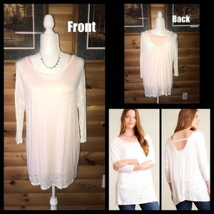 "Tops - Ivory ""hole punch"" top- SO soft. New never worn"